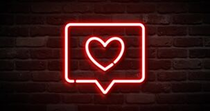 Animated flickering neon like icon on the wall. Animation, motion graphics design