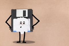 Animated floppy disk concept. Stick and walk figure royalty free stock images