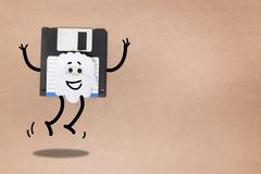 Animated floppy disk concept. Stick and walk figure jumping royalty free stock images