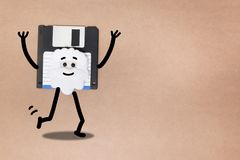 Animated floppy disk concept. Stick and walk figure walking royalty free stock image