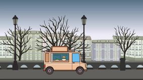 Animated food truck riding through autumn city. Moving vehicle on landscape background. Flat animation.