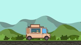 Animated food truck riding through green valley. Moving vehicle on rural landscape background. Flat animation.