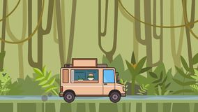 Animated food truck riding through tropical rainforest. Moving vehicle on jungle river background. Flat animation. Animated food truck riding through tropical stock video footage