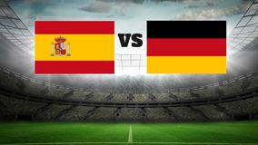Animated football field with lights Video. Animated football field with lights with german and spanish flag