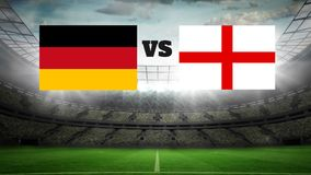 Animated football field with lights Video. Animated football field with lights with german and english flag
