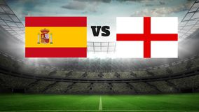 Animated football field with lights Video. Animated football field with lights with spanish and english flag
