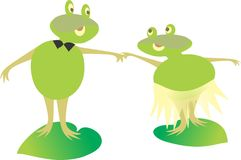 FROGS. Inlove holding hands drifting through life Stock Photography