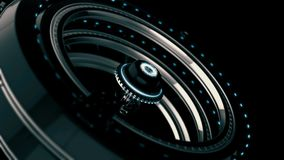 Animated futuristic abstraction of 3d electronic device, rotating chrome circles on the black background. Animation. Animated futuristic abstraction of 3d royalty free illustration