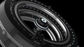 Animated futuristic abstraction of 3d electronic device, rotating chrome circles on the black background. Animation. Animated futuristic abstraction of 3d vector illustration