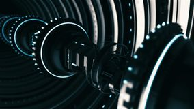 Free Animated Futuristic Tunnel Of 3d Rotating Chrome Circles With Elongated Electronic Device On The Black Background Royalty Free Stock Image - 157503676