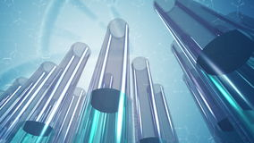 Animated glass laboratory test tubes and science background 4K stock footage