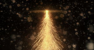Animated Golden Christmas Fir Tree Star background seamless loop 4k resolution. stock video footage