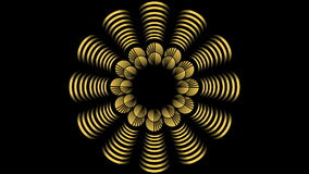 Animated golden decoration with fantasy  flower shape on black bakcground. Geometric golden element rotating, gold gradient strips. At the edges of video stock video footage