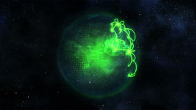 Animated green planet globe with connections stock video