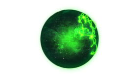 Animated green planet globe spinning on itself