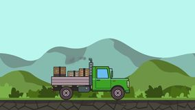 Animated green truck with boxes in the trunk riding through green valley. Moving heavy car on rural landscape background. Flat animation stock video footage