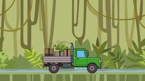 Animated green truck with boxes in the trunk riding through rainforest. Moving heavy car on jungle and river background. Flat animation stock video