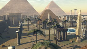 Animated growing ancient archeology of Egypt. 4K. 3D rendering animation of monument architecture of the heritage of ancient Egypt. The sphinx, pyramids and palm royalty free illustration