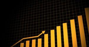 Animated growing arrow over dot line world map. business graph showing 3d arrow growth. Business success bar chart. arrow growth b