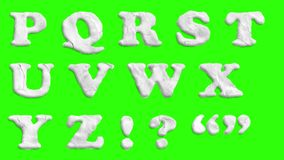 Animated paper cutout font isolated on chroma key green screen background animation all letters, punctuation, and. An animated hand-drawn font isolated over a royalty free illustration