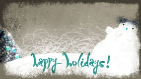 Animated Happy Holidays Lettering on Winter Background. Animated snowy Christmas decorated Earth and Happy Holidays calligraphic lettering. Loopable background stock video footage
