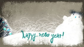 Animated Happy New 2017 Year Lettering on a Holiday Background stock video