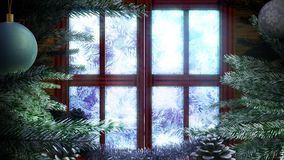 Animated Holiday Christmas window. With winter landscape background