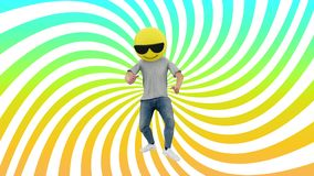 Animated Human Funny and Lucky Dynamic Dancing in Comical Rhythm Beat Looping. Male Funny and Lucky Dancing in Comical Rhythm of dj mix 80s 90s Years. 3d stock footage