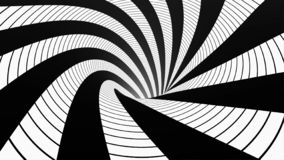 Animated hypnotic tunnel with white and black squares. Striped optical illusion three dimensional geometrical wormhole vector illustration