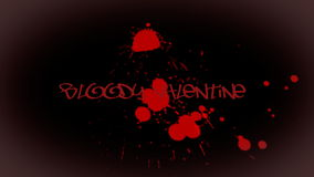 Animated inscription Bloody Valentine with bloody drops stock video