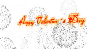 Animated inscription Happy Valentine's day with fireworks stock footage