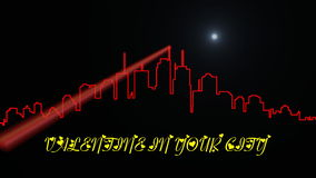 Animated inscription and shape of city for Valentine's day stock footage
