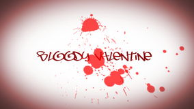 Animated inscription for Valentine's day with bloody drop stock video