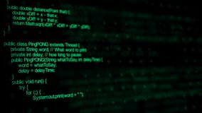 Writing Java Computer Program Code on a Black Background Animation. Animated Java code in green color written in black background vector illustration