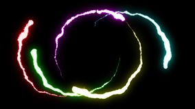 Loopable animated RAINBOW Lightning bolts round flight strike on black background animation new quality unique dynamic