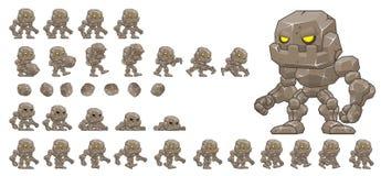 Animated Little Golem Character Sprites. Animated sprites for little golem character for creating adventure video games Stock Illustration