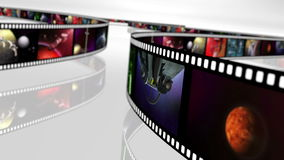 Animated loop-able rotating film reels 4K. Loop able animation of rotating film reels with a variety of clips. This clip is rendered in 4K, ultra high definition royalty free illustration