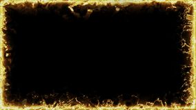 Animated loopable square frame of golden fractal beams stock video