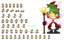 Animated Mage Character Sprites. Animated sprites for mage character for creating fantasy RPG adventure video games Stock Photography