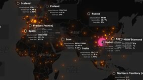 Animated map of spreading of the coronavirus COVID 19 pandemic from wuhan in china across the world. Dark map with