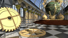 Animated mechanical devices in victorian interior. 3D rendering. 4K stock footage
