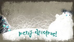 Animated Merry Christmas Lettering on a Holiday Background stock video footage