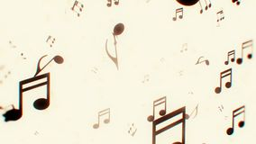 Animated monochrome background with musical notes. Animation stock video