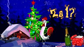 Animated new year greetings with the 2017 year of the rooster vector illustration