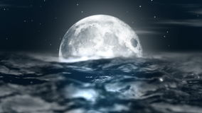 Animated night moon in the waves of the ocean