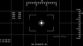 Animated Night Vision Helicopter / UAV 4K Template - Weapon Locked. UAV or Helicopter weapon locked template black background isolated stock video