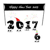 Animated numerals of 2017 year congratulating with new year. Stock Image