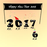Animated numerals of 2017 year congratulating with new year. Royalty Free Stock Photos