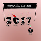 Animated numerals of 2017 year congratulating with new year. Stock Images