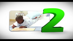 Animated numeration of children doing various activities Royalty Free Stock Photos